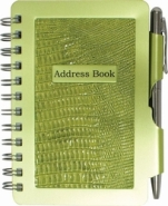 Address Book  Safari Green-wellspring, green, address book, office product, school supplies, note cards