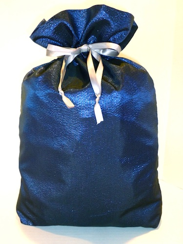 BlueShimmer Cloth Gift Bag-blue shimmer gift bag, gratitude gift bags, hostess gift, eco friendly, reusable bags, cloth gift bag, christmas wrapping paper, cloth wrapping paper