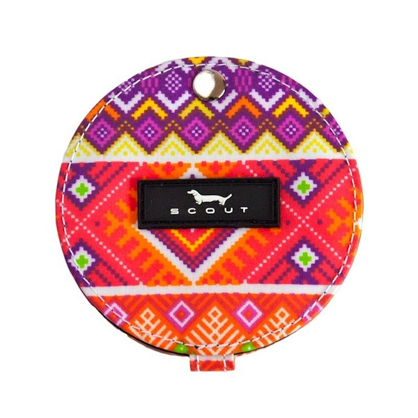 Compact Mirror in Baja Pattern-bungalow scout compact mirror, compact mirror, travel size mirror, makeup mirror, bridal party gift, girlfriend gift, thank you gift, baja ja, orange and reds