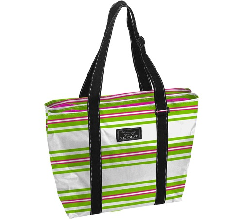 Bungalow Scout Double Wide in Kiwi Largo-bungalow scout, double wide,tote, garmet bag, garmet tote, bridesmaid gift, travel bag, travel, travel garmet bag, black and white, inked, paisley, kellie green pickler, green, Nooner, lunch tote, carry all, sea cup red, sea cup, red, stripes, white and green, pink and green, kiwi largo, party tote