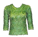 Origami Three Quarter Sleeve Shirt Top in Emerald/Lime-