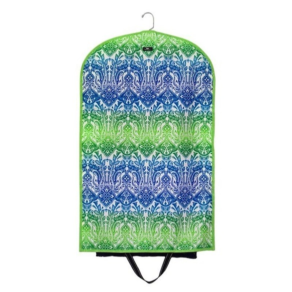 Bungalow Scout Garment Bag Cold Shoulder-bungalow scout, garmentote, garment bag, clothes bag, travel carrier, suit bag, cold choulder, blues and green, paisley, bridal party gift, chic, fashionable, coated cotton, wipe clean