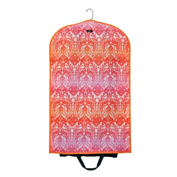 Bungalow Scout Garment Bag Warm Ombrace-bungalow scout, garmentote, garment bag, garment tote, travel bag, paisley, orange and pink, bridal gifts