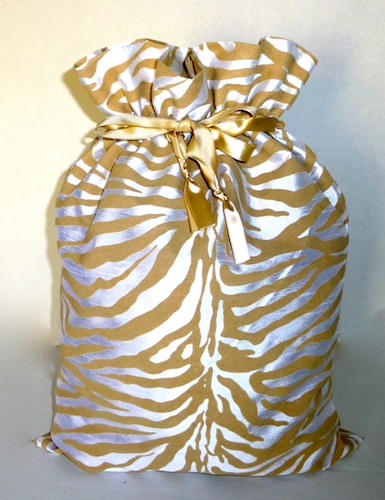 Golden Zebra Wine Bag-zebra stripe, gratitude gifts bags, wine bag, Christmas, open house, stocking stuffer,hostess gift, reusable, eco friendly