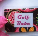 Golf Babe Bag Tag (Tropical)-golf tag, bag tag, luggage tag, golf bag, golf gift, tag, pink, fun golf gift