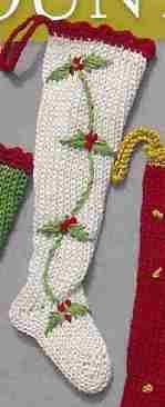 Mini Xmas Stocking HOLLY-handknit, hand knit, handknit stocking, mini stocking, christmas stocking, holiday stocking, holiday gift, christmas gift