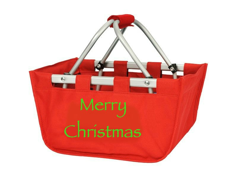 Merry Christmas Tote in Red-market tote, mini market tote, red, merry christmas, merry xmas, christmas tote,xmas bag, xmas gift, Christmas gift, card holder