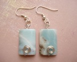 Earrings  Namibian Amazonite-Earrings, amazonite, blue, sterling silver, fun, unique, funky, cool earrings
