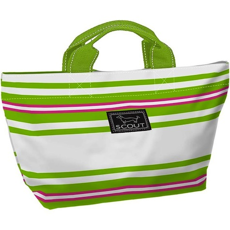 Bungalow Scout Nooner in Kiwi Largo-bungalow scout, tote, garmet bag, garmet tote, bridesmaid gift, travel bag, travel, travel garmet bag, black and white, inked, paisley, kellie green pickler, green, Nooner, lunch tote, carry all, sea cup red, sea cup, red, kiwi largo, stripes, white and pink, pink and green