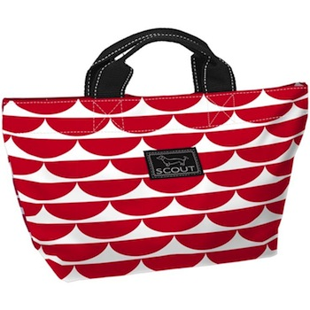Bungalow Scout Nooner in Sea Cup-bungalow scout, tote, garmet bag, garmet tote, bridesmaid gift, travel bag, travel, travel garmet bag, black and white, inked, paisley, kellie green pickler, green, Nooner, lunch tote, carry all, sea cup red, sea cup, red, stripes, white and green, pink and green