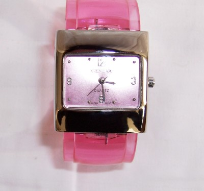 Pink Jelly Cuff Watch-Pink Jelly Cuff Watch