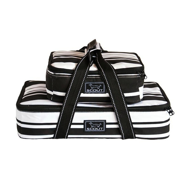 Bungalow Scout Food Carrier Blk/White-bungalow scout two plate special, food carrier, hot and cold food carrier, black and white, battle of the bands pattern, picnic, picnic tote, picnic carrier, chef, hot dish, cold dish, potluck, pot luck