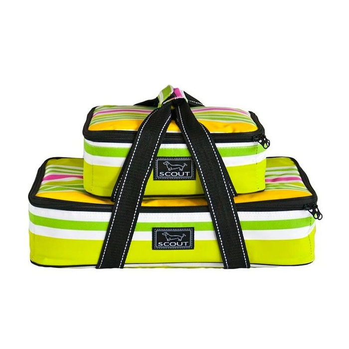 Bungalow Scout Food Carrier in Lime Rickey-bungalow scout two plate special, pot luck carrier, food carrier, hot cold dishes, picnic carriers, picnic tote, greens, pinks, yellows, garden colors, wedding gift, shower gift,