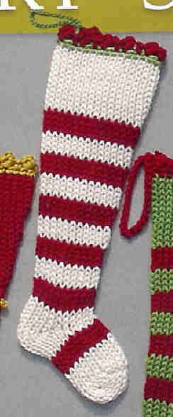 Mini Xmas Stocking STRIPES-handknit stocking, hand knit stocking, mini stocking, christmas stocking, holiday stocking, gift