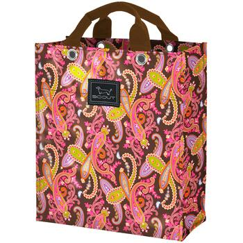 Shopper Grocery Tote/Bag  Pink Paisley-shopping bag, grocery bag, bungalow scout tote, tote, green, pink, paisley, water resistant, gift, cool gift, gift boutique
