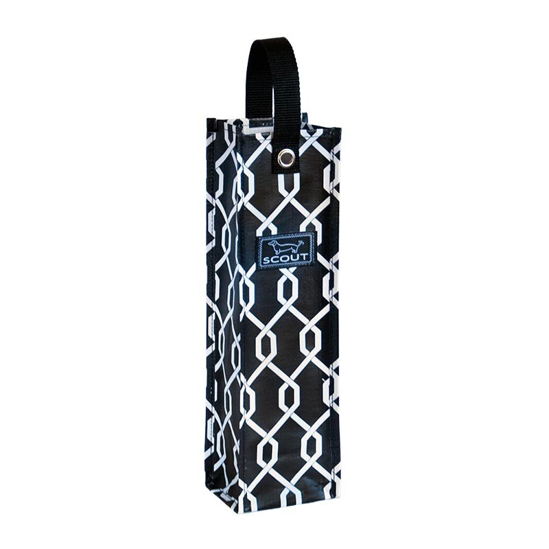 Bungalow Scout Wine Tote Spirit Liftah Black and White-bungalow scout, wine tote, beverage tote, spirit liftah, black and white, off the chain, gift, holiday, drinks