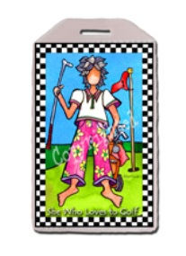 """She Who Loves Golf""  Luggage/Bag Tags-tags, luggage, bags, golf, tennis, yoga, gym, backpacks"