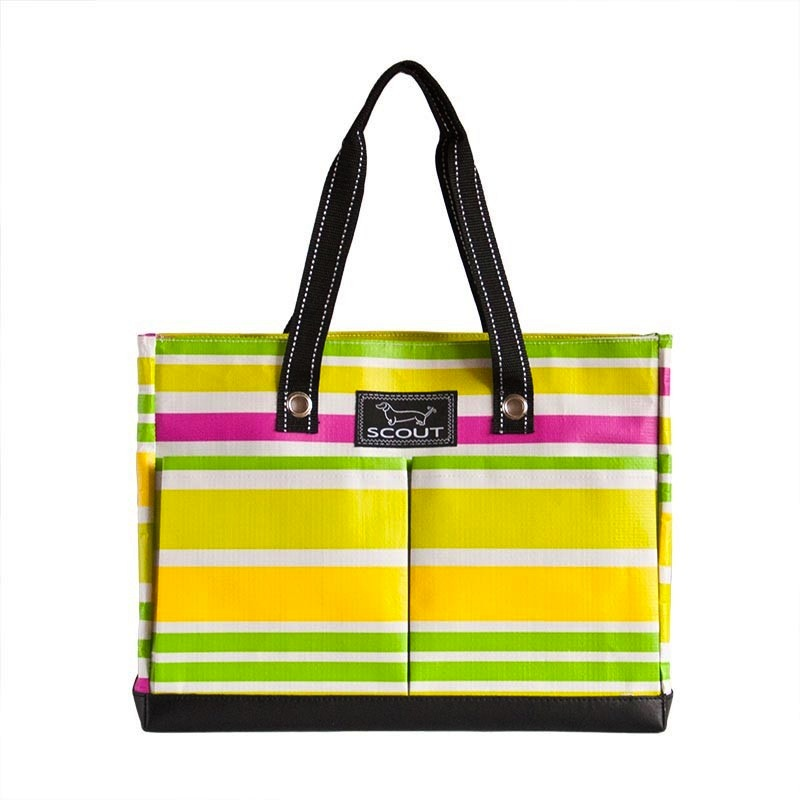 Bungalow Scout Uptown Girl in Lime Rickey-bungalow scout uptown girl, uptown girl, bungalow scout tote, lime rickey, yellow, green, pink, garden colors, spring colors, zipper tote, gift, beach bag, durable, easy to clean, pockets