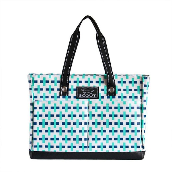 "Bungalow Scout Uptown Girl in ""Mint T""-bungalow scout, uptown girl, tote, coated cotton, wipes clean, carry all, zipper"