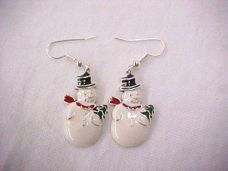Silver & Enamel Christmas Earrings-Silver & Enamel Christmas Earrings