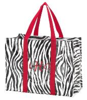 Shopping Tote-Shopping Tote, Tote, Zebra, laminated, mongrammed