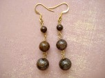 Earrings  Bronzite-earrings, bronzite, brown, jewelry, unique, fun, funky