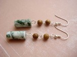 Earrings Forest Jasper-earrings, forest green, jasper, unique, funky, fun, accessories, jewelry