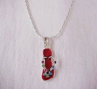 Red Flip Flop Necklace-Red Flip Flop Necklace